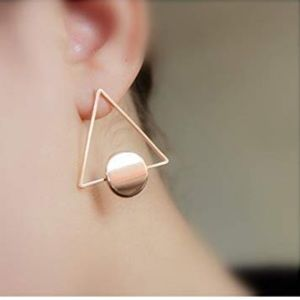 Jewelry - YUELILI,Geometric Triangle & Circular Gold Earring